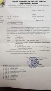 Surat Undangan DPRD Jember kepada Bupati Jember